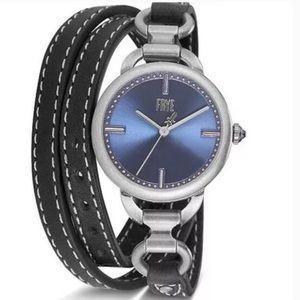 NWT Frye Ilana Black Leather Triple Wrap Watch